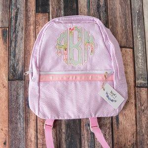 Pink Seersucker monogram Applique backpack